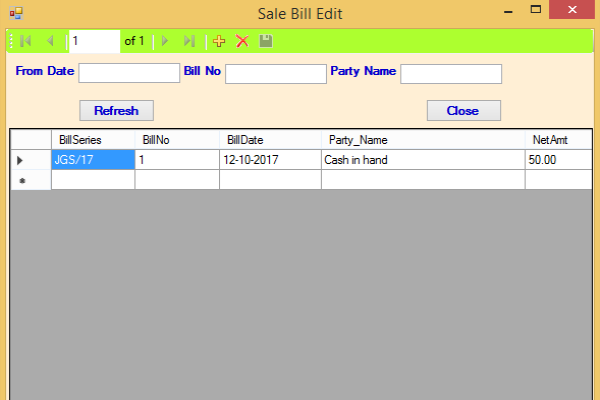 Edit Sale Bill